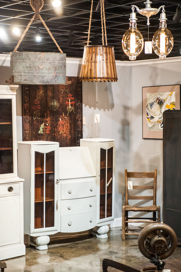 White Dresser and hand crafted lights by the Rustic Punk in Adjectives Altamonte