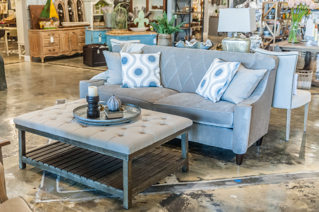 Rustic Ottoman and Velvet Sofa at Adjectives Altamonte
