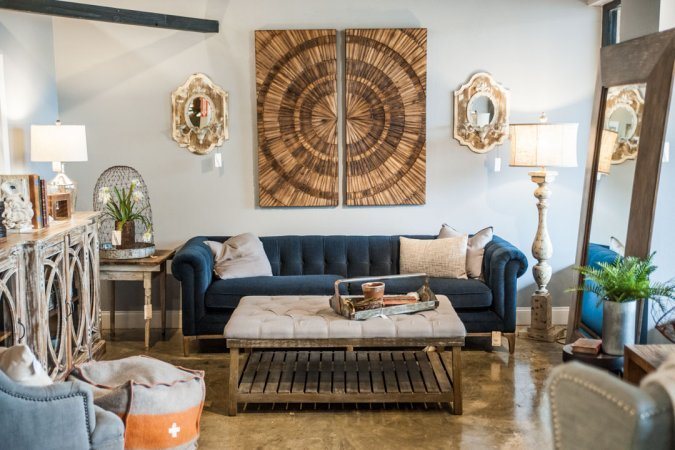 Blue Velvet Tufted Sofa and home decor in Adjectives Altamonte