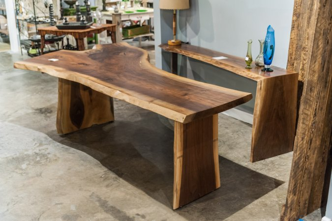 Handcrafted solid wood table with live edge by Refined by David at Adjectives