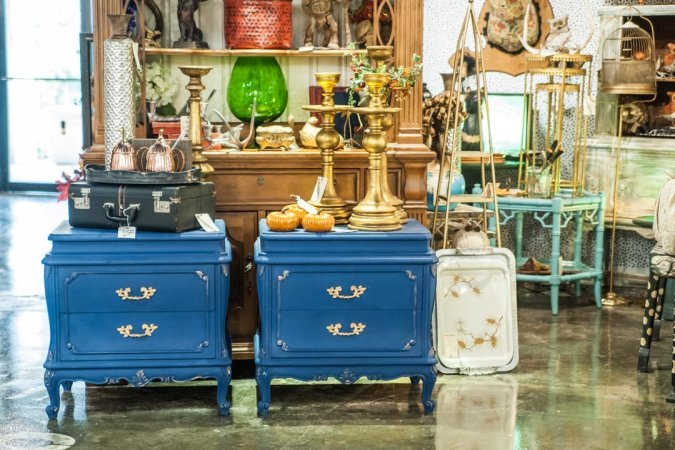 Handpainted antique night stands by Rusted Eclectic in Adjectives Altamonte