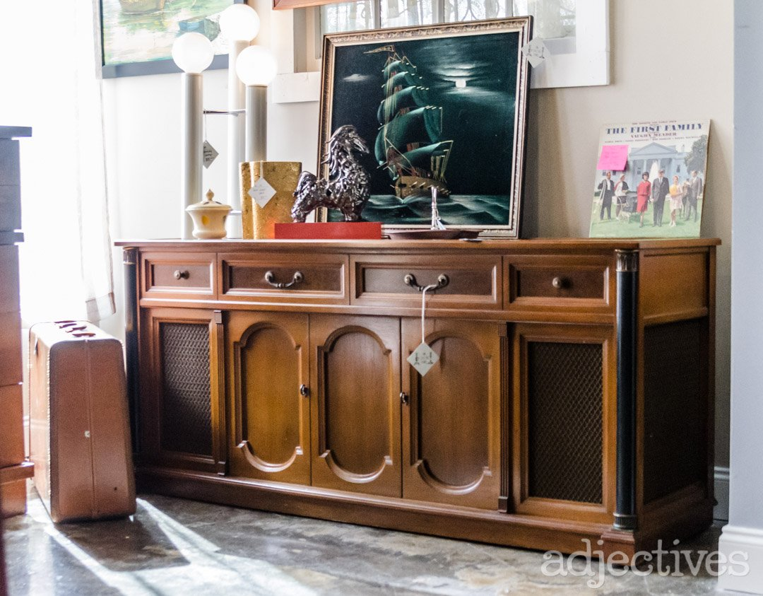 Restored Wood Furniture - Vintage Media Console at Adjectives