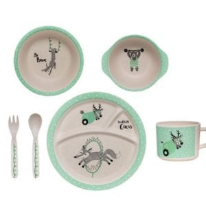 Bamboo Kids Serving Set in Mint by Bloomingville